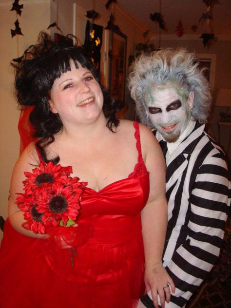 Homemade Halloween costume Beetlejuice and Lydia