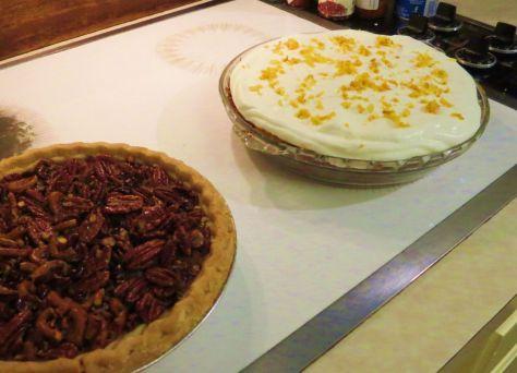 Pumpkin Chiffon Pie with orange cream