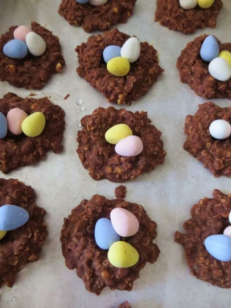 chocolate peanut butter birds nest cookies