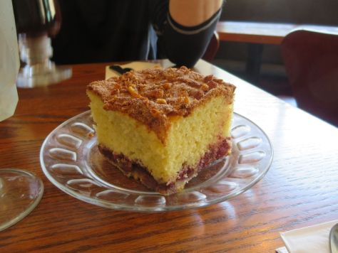 Raspberry coffee cake at First Street Haven