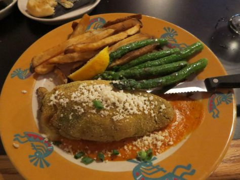 Yellow and blue corn crusted crab chili relleno at Kokopelli Grill Port Angeles