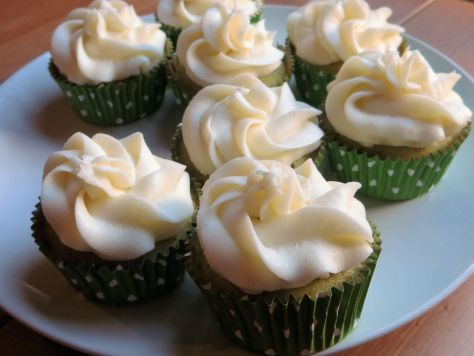 green tea cupcakes with lychee frosting