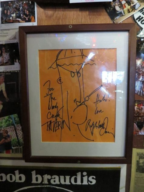 Ralph Steadman doodle of Hunter S Thompson on the wall at Woody Creek Tavern