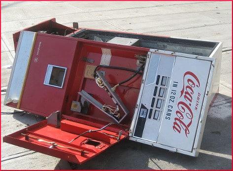 broken Coca-Cola vending machine