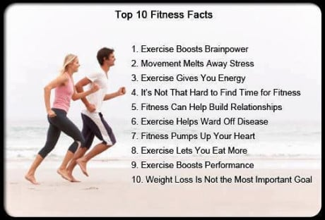 [top ten fitness facts related to the benefits of exercise on the brain, stress and energy levels, and overall health]