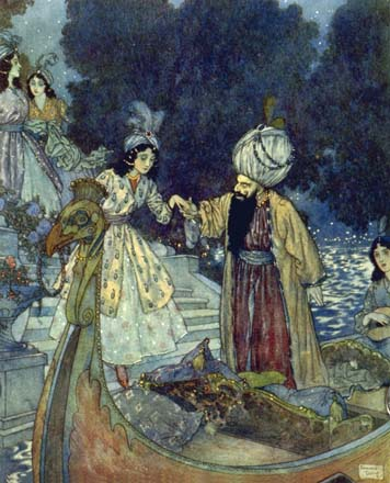 Bluebeard with his bride, by Edmund Dulac