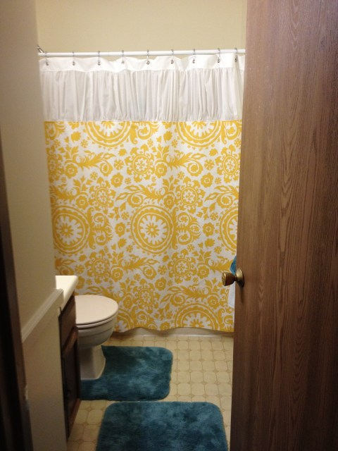 The ruffled shower curtain I made after moving into my apartment I LOVE how it came out!