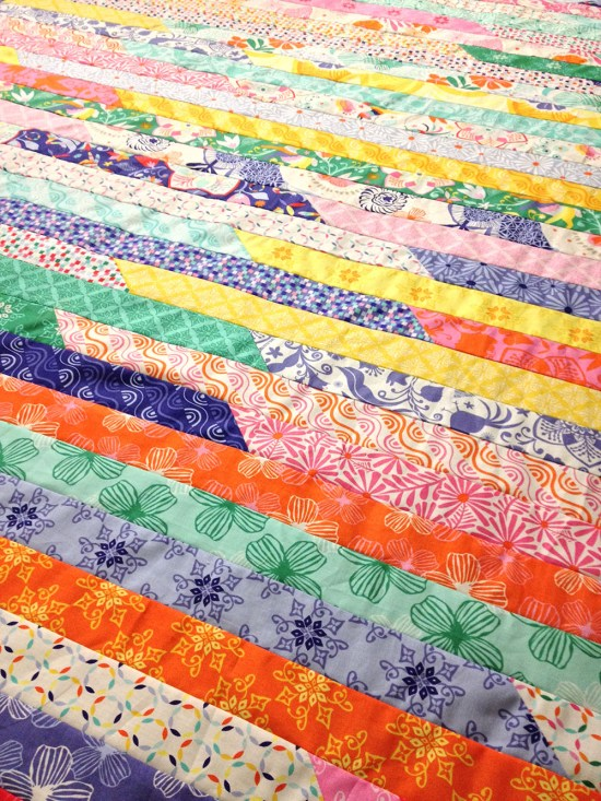 Running Through Daydreams quilt - a Jelly Roll Race in Kate Spain's Daydreams