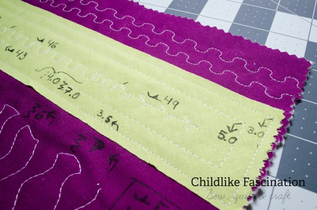 Closeup on the notes on my stitch sampler