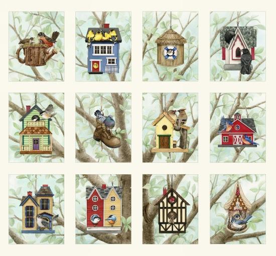 Beautiful Birds Bird House Fabric Panels