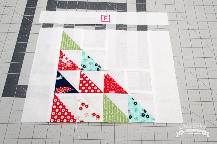 Sew the top background to