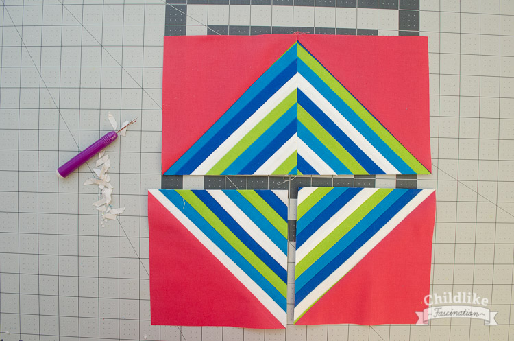 HST with seam ripper and paper scraps for seam allowances