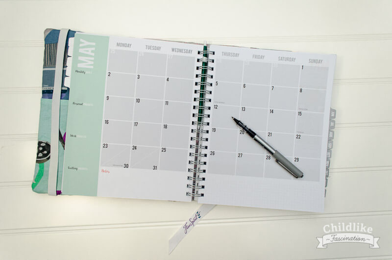 Quilter's Planner month spread