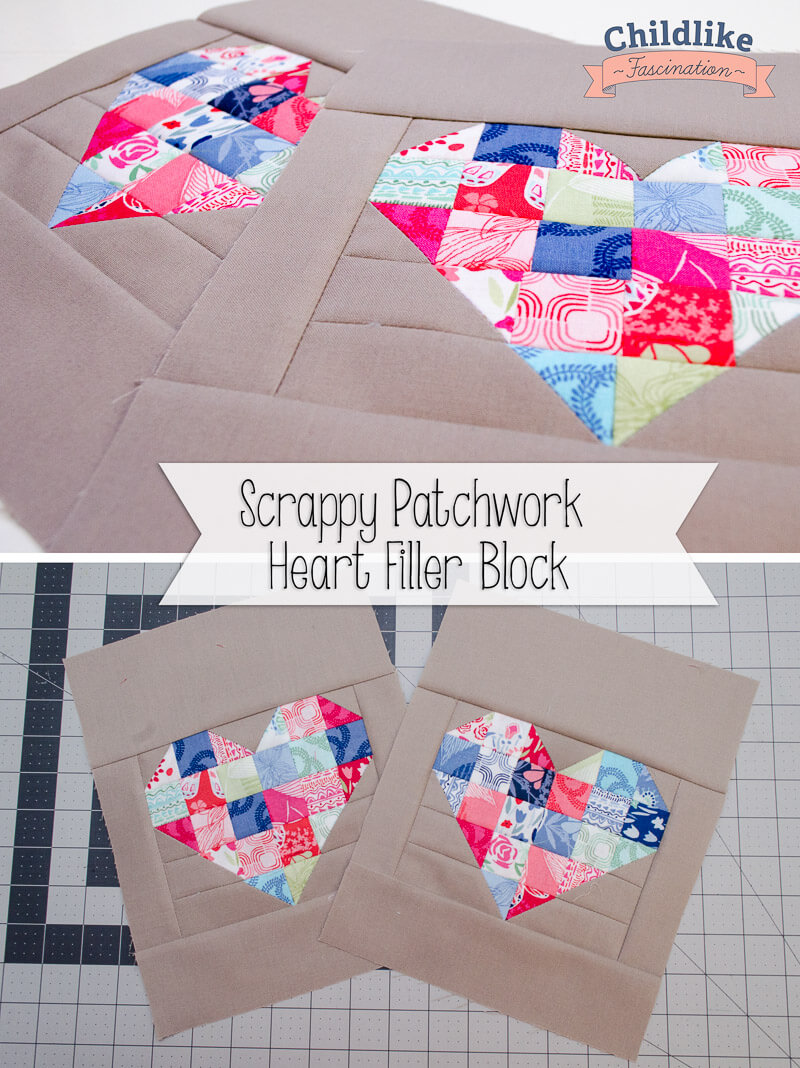 Easy Scrappy Patchwork Heart Blocks 8 x 10 block!