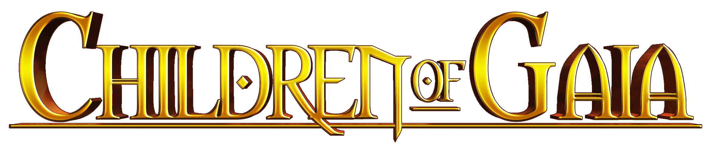 Children of Gaia's golden metallic logo reflecting fiery lighting