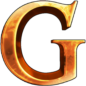 Children of Gaia, big G metallic logo with firey reflections
