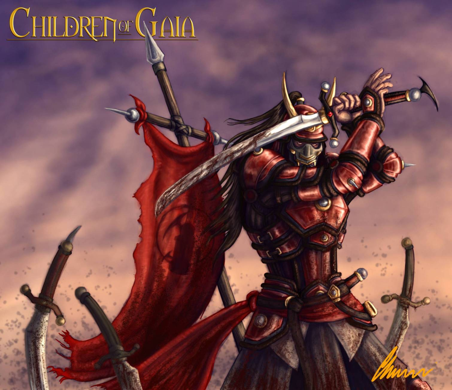 Action shot of a Vargas Imperial Soldier in full armor from the Children of Gaia series illustrated by Chris Covelli
