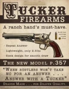 War & Horses: Tucker Firearms - mock Ad