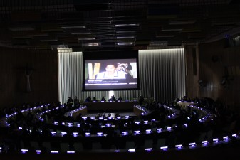 "The video ""Twenty Years for Children"" was presented during the event. Photo: UN Photo/ Stephanie Tremblay"