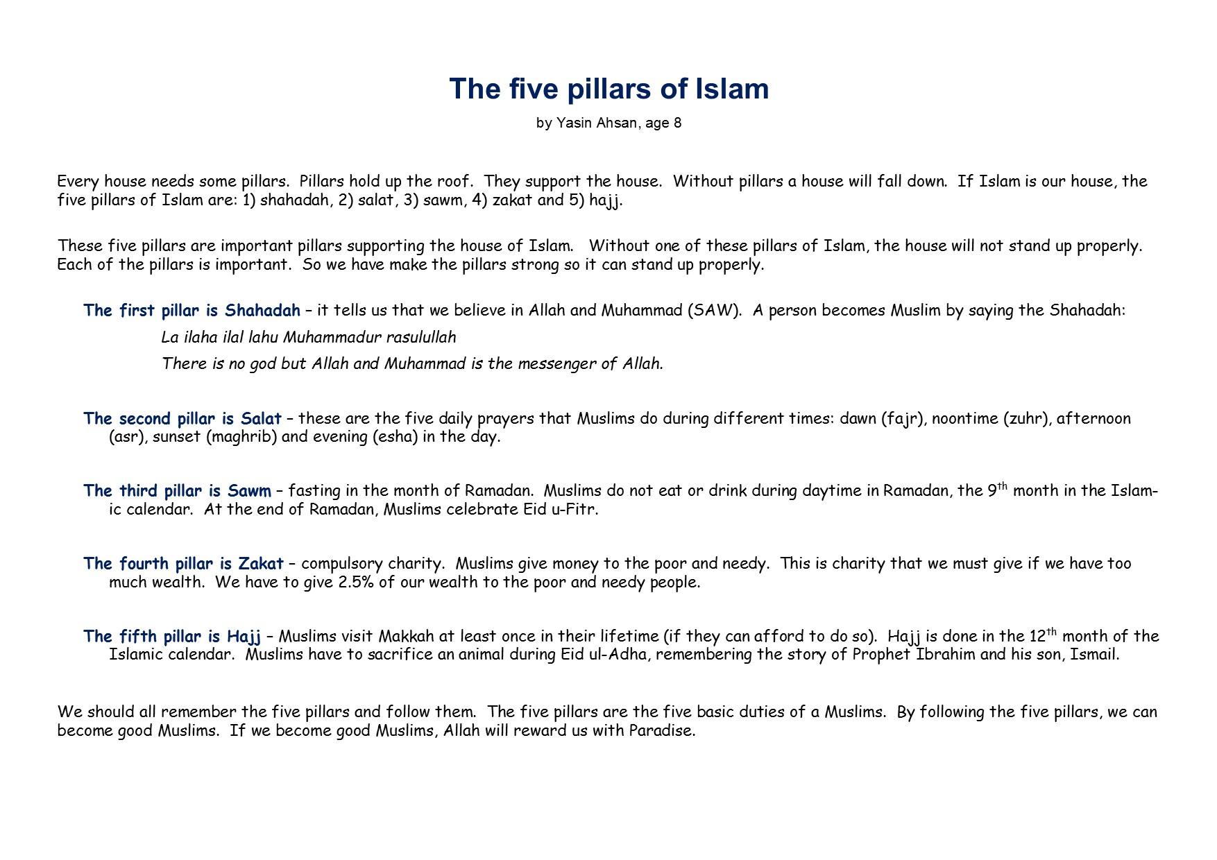 Worksheets Five Pillars Of Islam Worksheet Waytoohuman