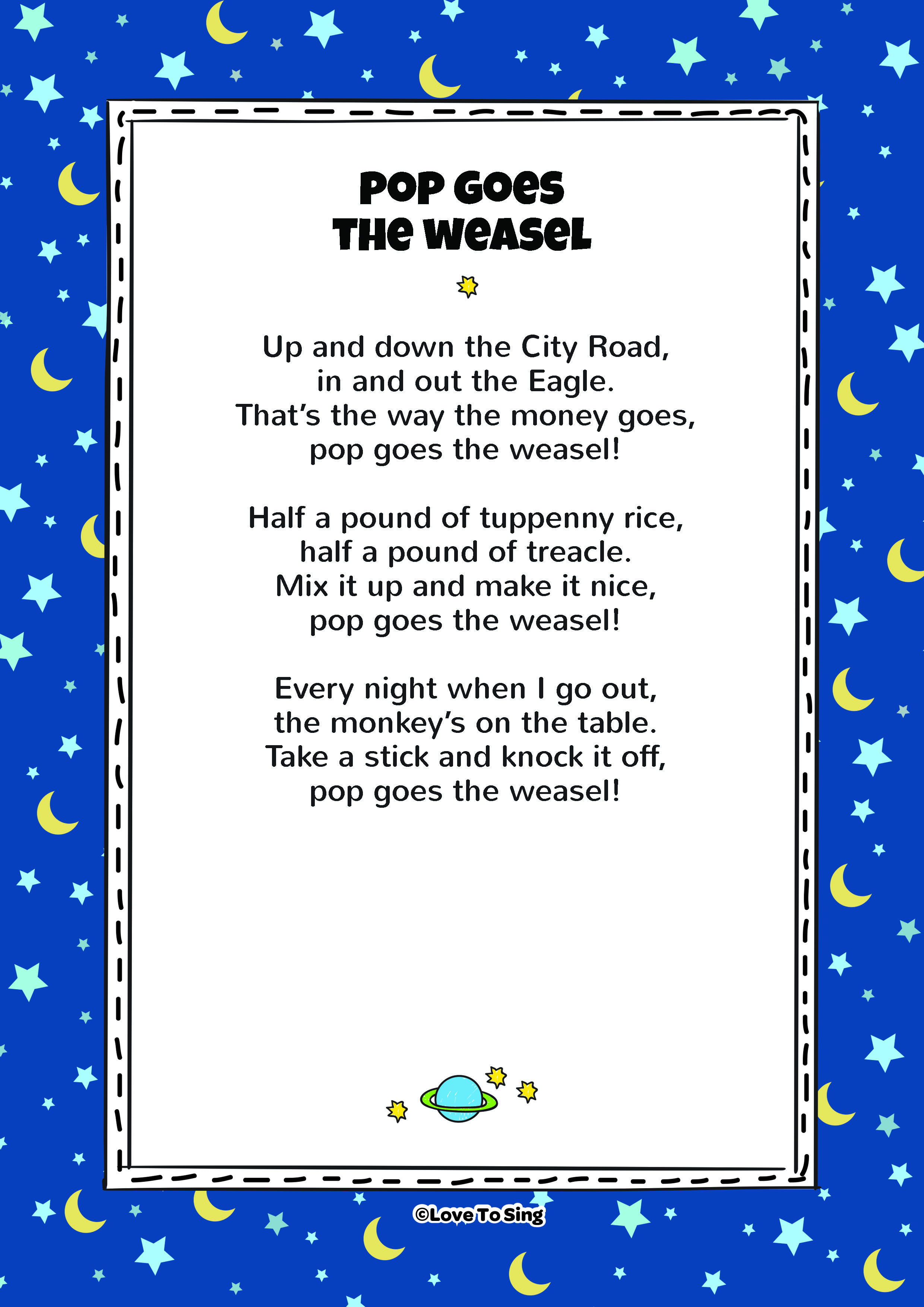 Pop Goes The Weasel  Kids Video Song with FREE Lyrics