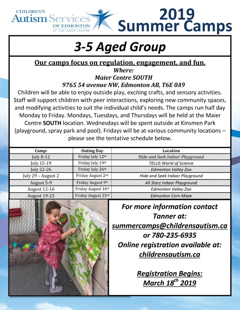 Childrens Autism Services Of Edmonton Age 3 5 Summer Camp