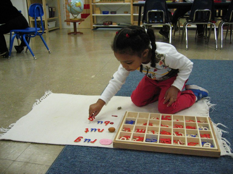 Language work at Children's House Montessori School of Reston.