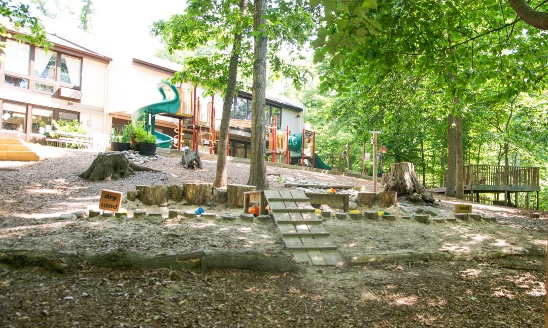 Playground equipment at Children's House Montessori School of Reston.