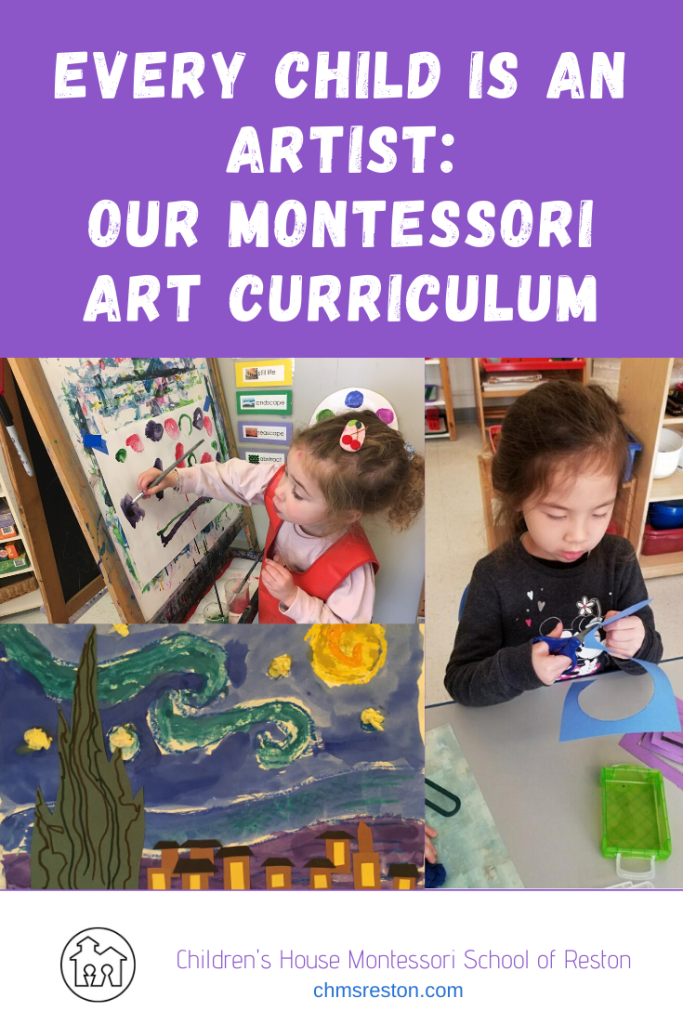 montessori art curriculum blog post title card