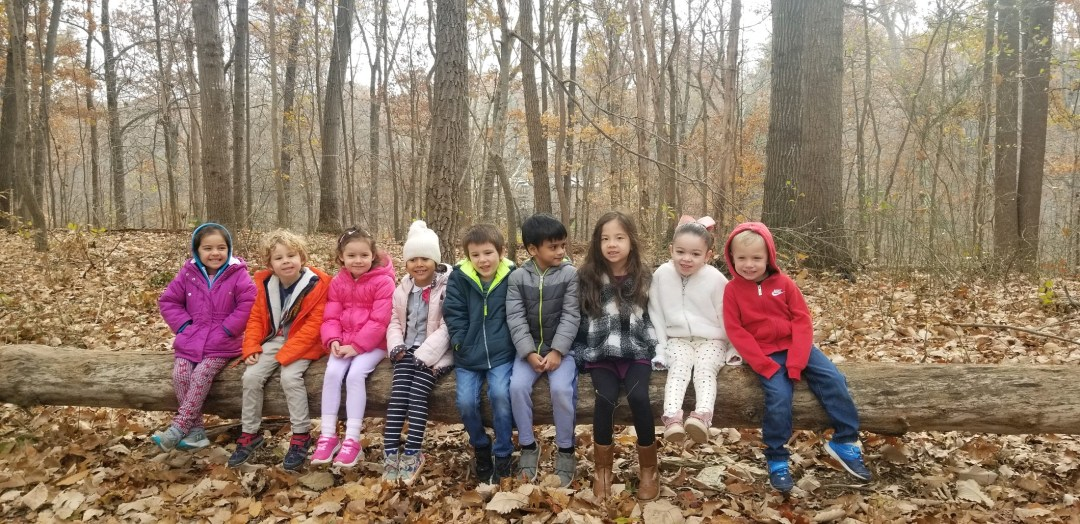 Children sitting on a log after a nature hike at Children's House Montessori School of Reston.