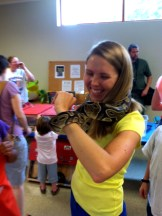 Candace holding the Ball Python!