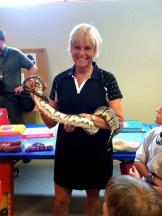 Kathy bravely holding the Ball Python!