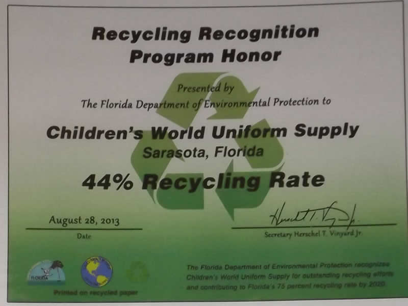 Recycling Recognition Program Honor
