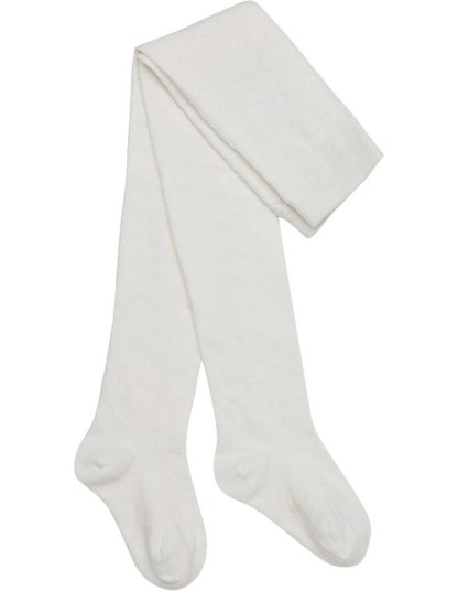 Marquise White Knitted Cotton Tights