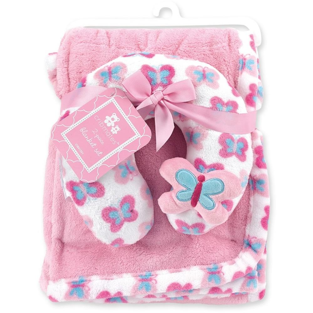 cribmates soft plush blanket with travel pillow butterfly