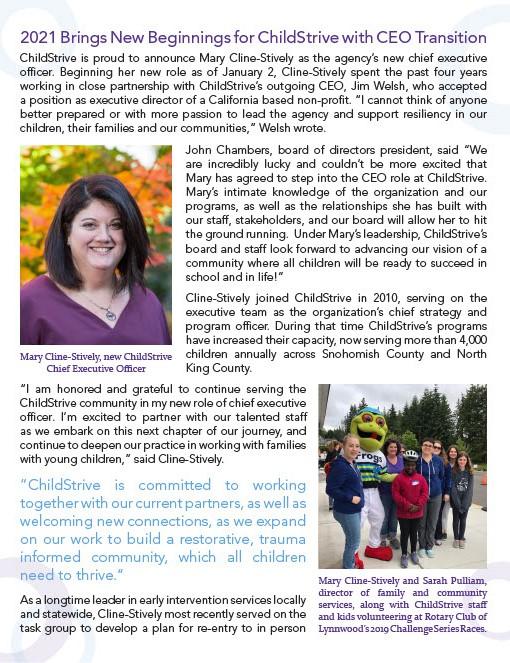 Winter 2021 Newsletter, New CEO