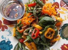 Baby Kale and Spinach Salad with hot raspberry Vinaigrette
