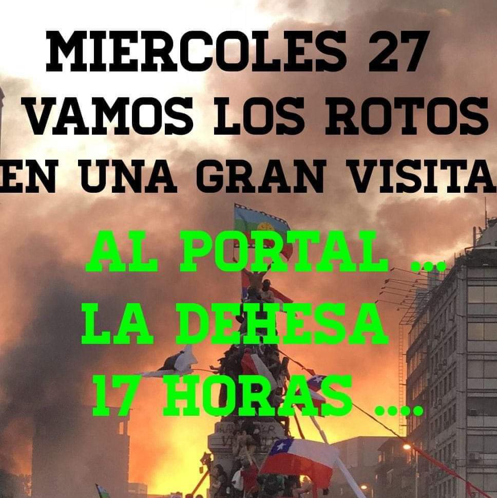 «QUE CONOZCAN AL CHILE REAL» Convocan marcha al PORTAL LA DEHESA