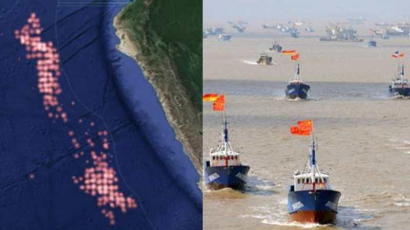 Gran FLOTA de pesqueros Chinos están a POCAS MILLAS de aguas Chilenas