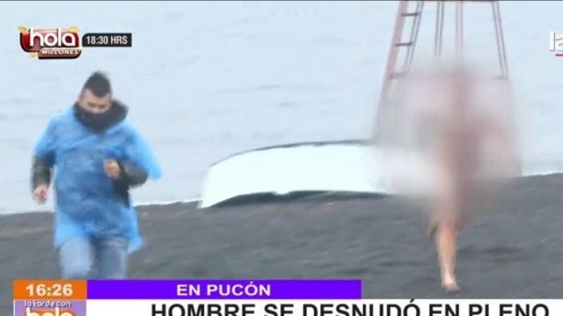 Hombre SE DESNUDÓ en pleno eclipse y AGREDIÓ a gente en Pucón: amenazó con MATARLOS a todos