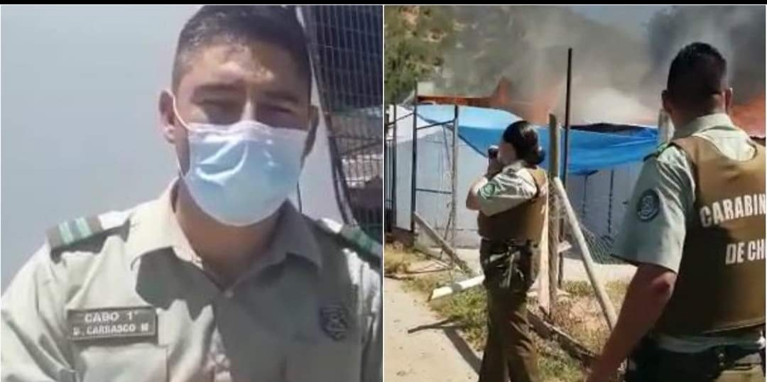Carabinero SALVA DE ENTRE LAS LLAMAS a madre e hija sufriendo QUEMADURAS