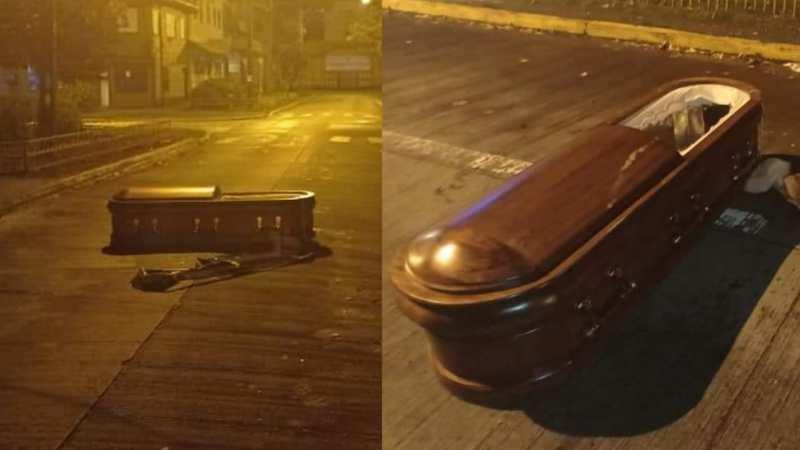 UN ATAÚD EN PLENA CALLE!  Delincuentes abandonan féretro tras asaltar funeraria en Puerto Montt