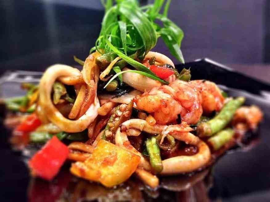 Thalay Phad Prik Pao - Stir Fried Seafood in Sweet Chilli Paste