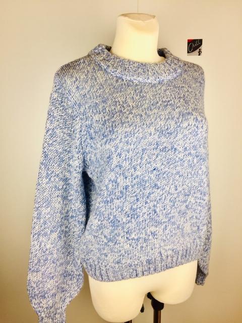 Kaffe-Pullover-blau-meliert