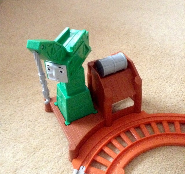 Thomas & Friends My First All Around Sodor, Cranky is green with a grey barrell and brown track