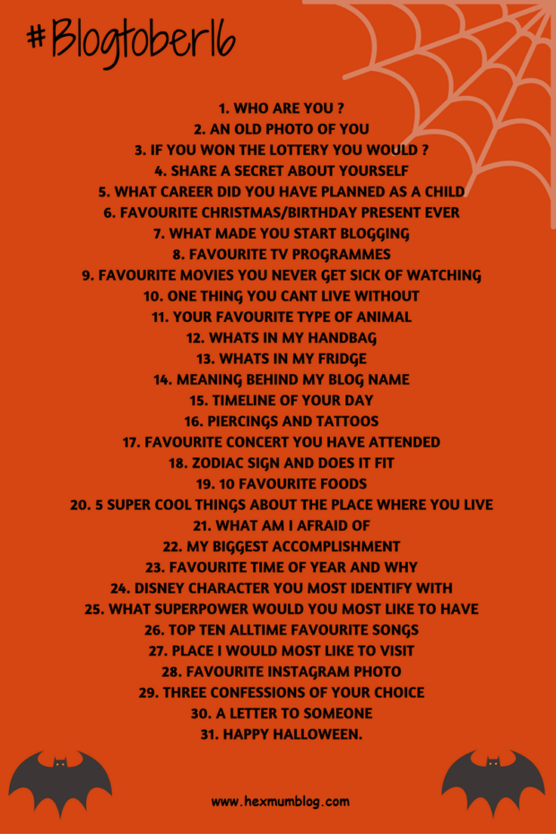 Blogtober. List of questions for bloggers to answer. Black writing on orange background