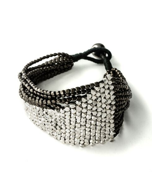 Festival fashion black and silver handmade bracelet banbayu