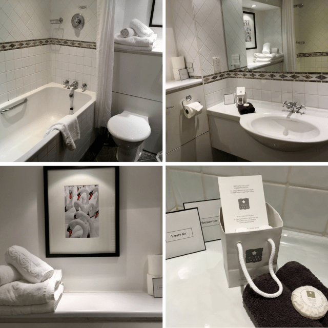 Low Wood Bay, Windermere review. A collage of 4 photos showing the bathroom. White tiles and towels, dark details on the tiles. A swan picture
