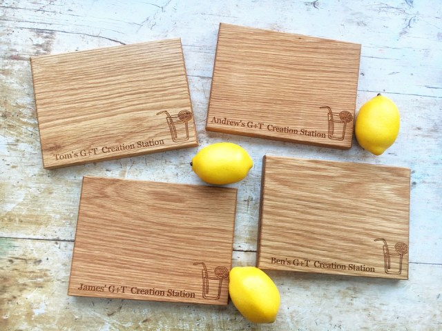 fathers day gift idea. 4 wooden chopping boards personlaised for gin and tonic