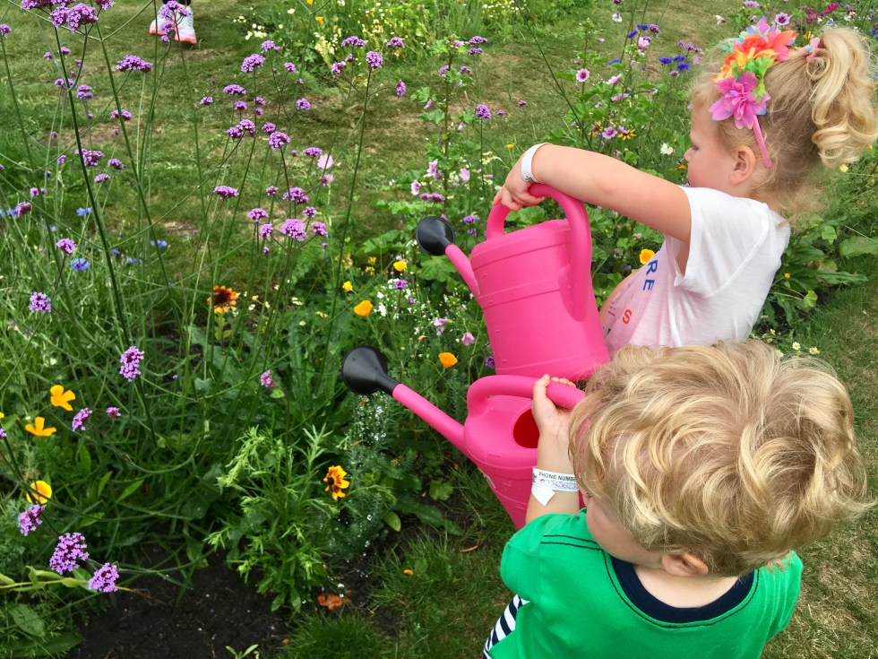 CBBC Summer Social review Lucas and S watering wild flowerd